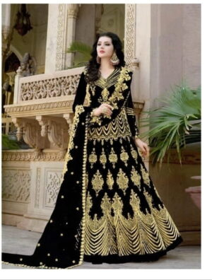Sensational Black Net With Embroidered Diamond Work Anarkali New Salwar suit design online