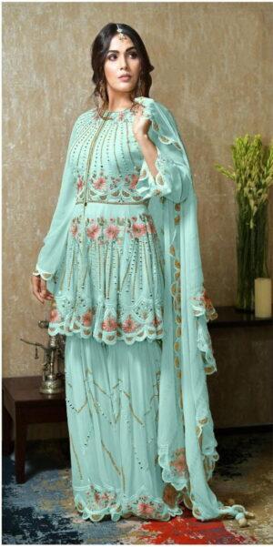 Ravishing Firozi Georgette With Mirror Embroidered Work New Salwar suit design online