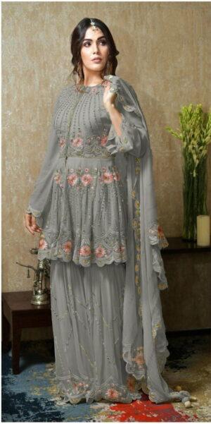 Devastating Grey Georgette With Mirror Embroidered Work New Salwar suit design online