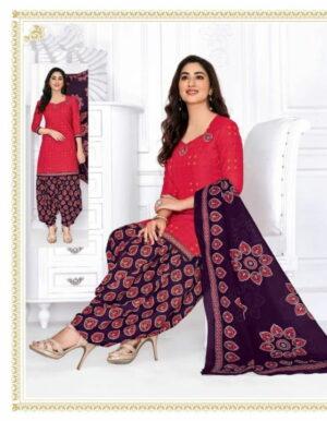 Alluring Purple & Pink Cotton Printed New Salwar suit design online