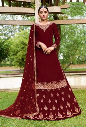 Sensational Red Georgette With Embroidered Work Salwar Suit