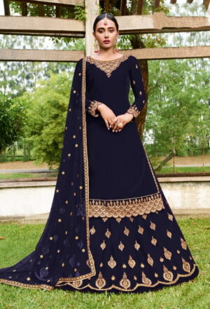 Radiant Navy Blue Georgette With Embroidered Work Salwar Suit