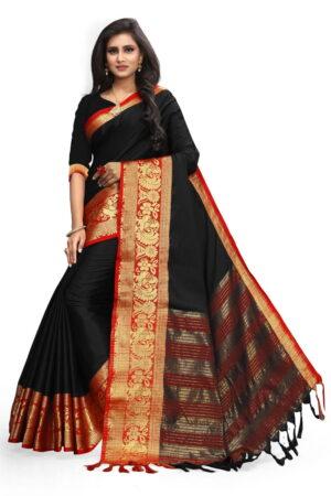 Comely Black Colored Poly Cotton Rich Pallu Designer Saree