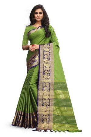 Pretty Green Poly Cotton With Rich Pallu Designer Saree
