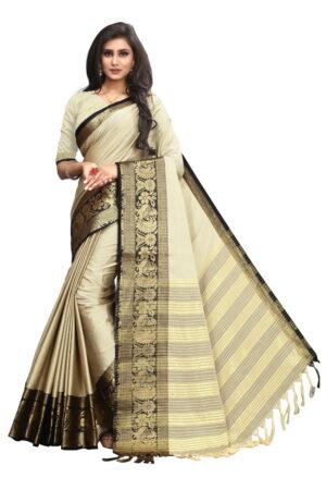 Sensational Cream & Black Poly Cotton With Rich Pallu Designer Saree