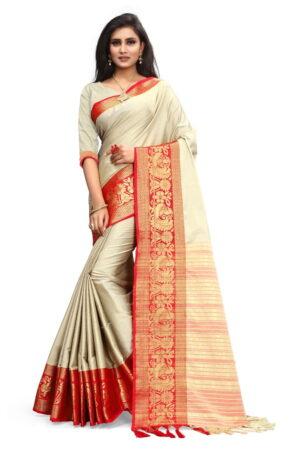 Ravishing Cream & Orange Poly Cotton With Rich Pallu Designer Saree
