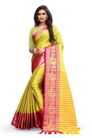 Dazzling Yellow & Rani Poly Cotton With Rich Pallu Designer Saree