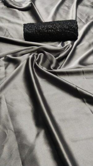 Alluring Grey Satin Silk Designer Saree With Sequence Work Blouse