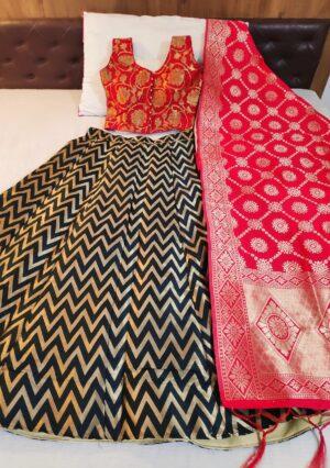 Amazeballs Red & Black Banarasi Silk With Padded Blouse Online Lehenga Choli Design