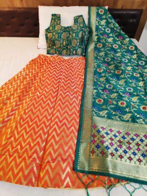 Knockout Rama & Orange Banarasi Silk With Padded Blouse Online Lehenga Choli Design