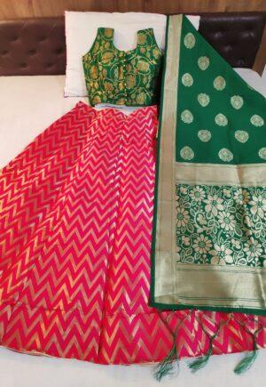 Smashing Green & Pink Banarasi Silk With Padded Blouse Online Lehenga Choli Design