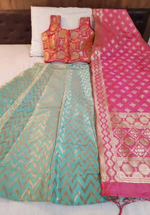 Bootylicious Pink & Firozi Banarasi Silk With Padded Blouse Online Lehenga Choli Design