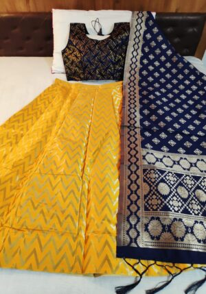 Beauteous Navy Blue & Yellow Banarasi Silk Online Lehenga Choli Design