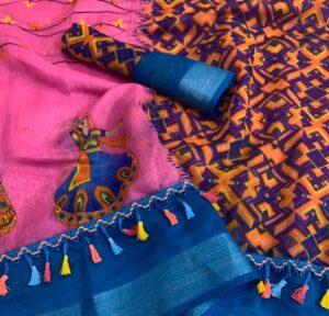 Amazing Pink & Blue Linen Cotton Silver Zari Weaving Border Designer Saree