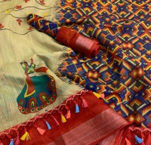 Astonishing Light Mehendi Green Linen Cotton Silver Zari Weaving Designer Saree