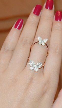 Fantastic White Diamond Golden Imitation Ring