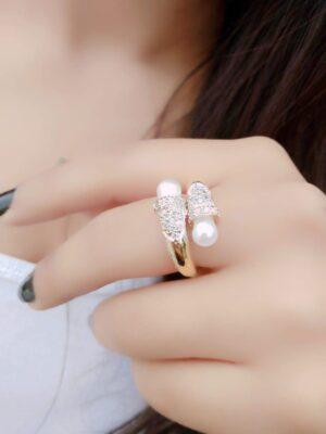 Tremendous White Diamond Golden Imitation Ring
