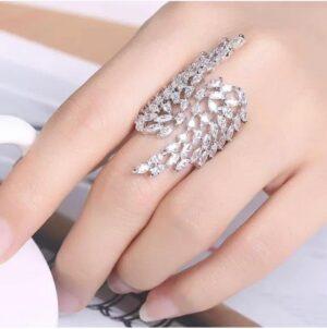 Wondrous Silver Colored Imitation White Diamond Ring