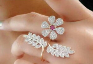 Good-Looking Pink & White Diamond Golden Imitation Ring
