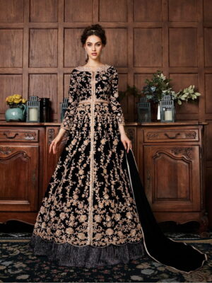 Outstanding Black Net With Diamond Embroidered Work Salwar Suit