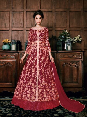 Amazing Red Net With Embroidered Diamond Work Salwar Suit