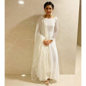 Glorious White Georgette Net With Embroidered Work Salwar Suit