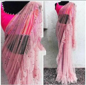 Amazeballs Pink Net Ruffle With Multi Moti Work Designer Saree