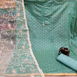 Charming Light Firozi Modal Foil Printed Work Salwar Suit