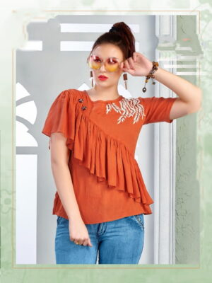 Alluring Orange Cotton Rayon With Embroidered Work Western Top