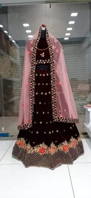 Bewitching Maroon Velvet Embroidered Work Online Lehenga Choli Design