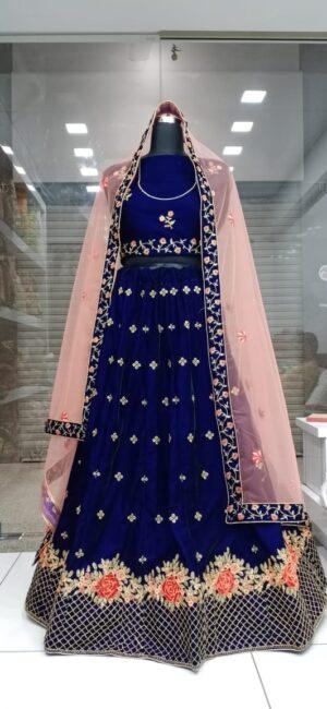 Alluring Royal Blue Embroidered Work Velvet Online Lehenga Choli Design