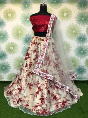 Exquisite Maroon Net With Embroidered Sequence Work Online Lehenga Choli Design