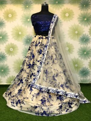 Gorgeous Navy Blue Net With Sequence Embroidered Work Online Lehenga Choli Design