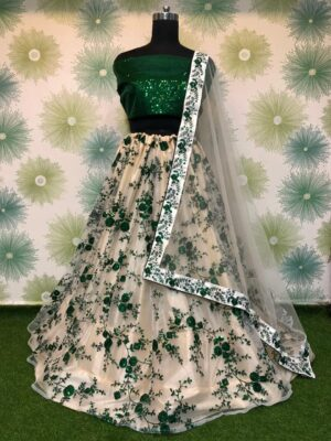 Knockout Green Net With Embroidered Sequence Work Online Lehenga Choli Design