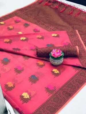 Charming Pink Cotton With All Over Weaving Designer Saree