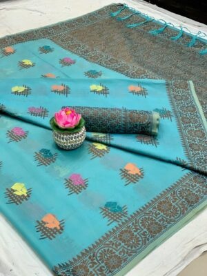 Alluring Sky Blue Cotton With All Over Weaving Designer Saree