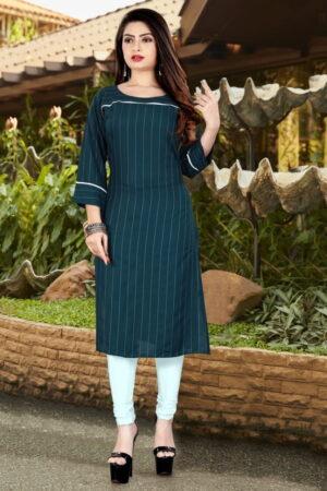 Beauteous Rama Blue Rayon Dobby Dyed Long Kurti Design