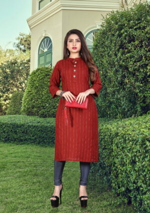 Pulchritudinous Red Colored Rayon Dobby Dyed Long Kurti Design