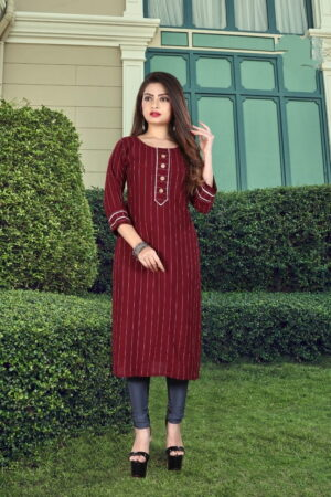 Remarkable Maroon Rayon Dobby Dyed Long Kurti Design