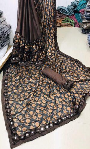 Astonishing Chocolate Ruffle Malai Tinpatti Mirror Work Border Designer Saree
