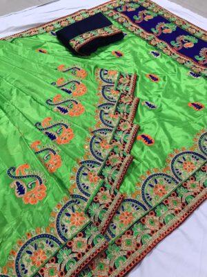 Alluring Green Silk With Embroidered Work Designer Saree