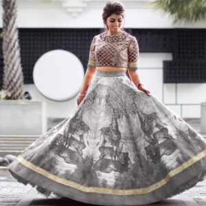 Astonishing Grey Satin Silk With Digital Embroidered Work Online Lehenga Choli Design