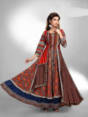Alluring Red & Multi Colored Chanderi Digital Printed Gown