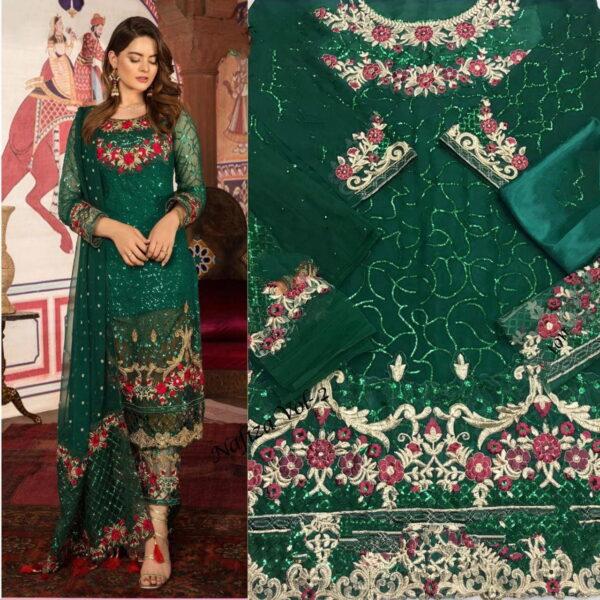 Super Dark Green Georgette Embroidered Work Salwar Suit
