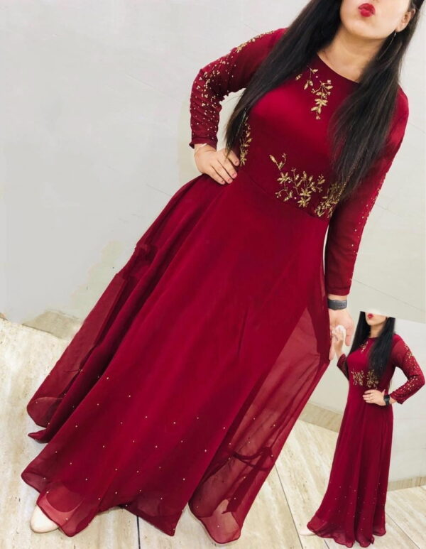 Fantastic Red Georgette With Embroidered Moti Work Gown
