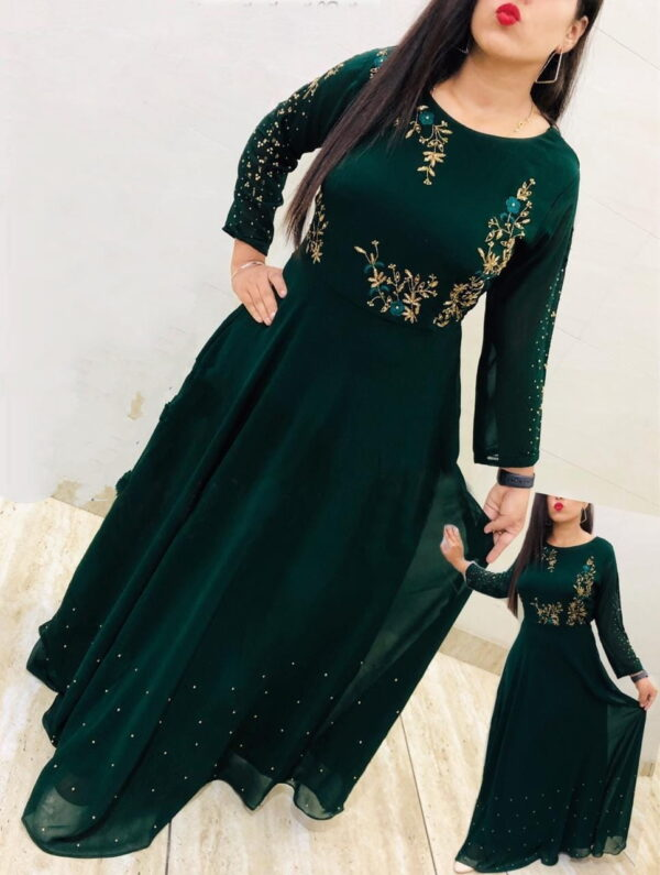 Tremendous Rama Green Georgette With Embroidered Work Gown