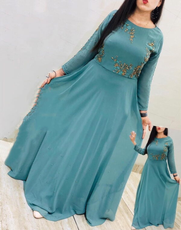 Wondrous Aqua Blue Georgette With Embroidered Work Gown