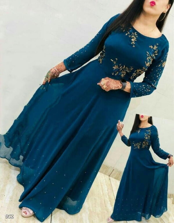 Beautiful Rama Blue Georgette Embroidered Work Gown