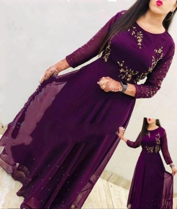 Lovely Wine Georgette Embroidered Work Gown