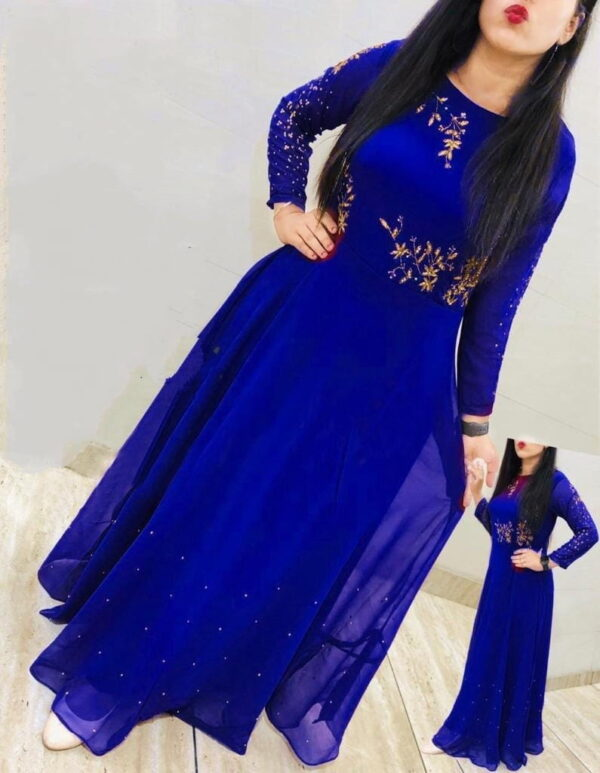 Comely Royal Blue Georgette Embroidered Work Gown